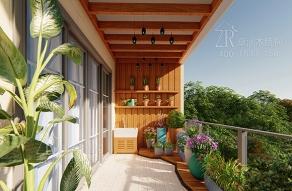 进口松木木阳台